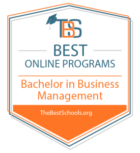 Best Online Bachelors Degree in Business Management Badge